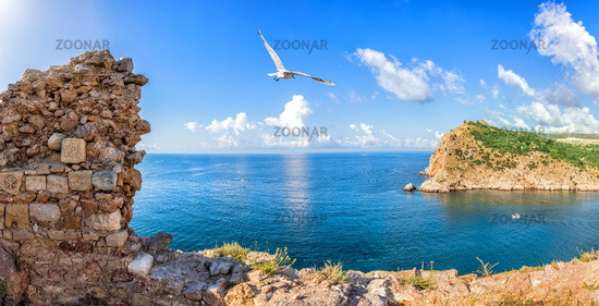 Sea scenery of Balaklava and the ruins of the medieval fortress, Crimea