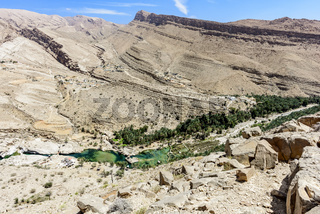 view of the valley of Wadi Bani Khalid with the main pool, Sultanate of Oman