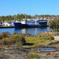 Ship in Sunnanå Hamn, small harbour in Mellerud. Dalsland, Sweden.