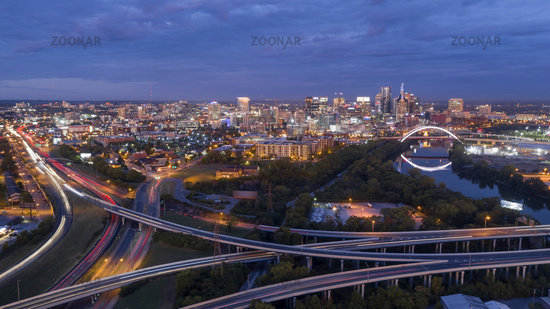 Early Morning Traffic Creates Light Streak in Long Exposure in Nashville Tennessee