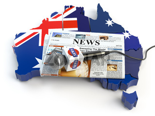 Australian news, press and  journalism concept. Microphone and newspaper on the map in colors of the flag of Australia