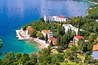 Town of Omisalj beach and coastline on Krk island aerial view