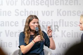 FRANKFURT AM MAIN, Germany - October 18 2019: Luisa Neubauer at 71st Frankfurt Book Fair / Buchmesse Frankfurt
