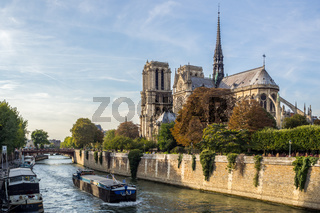 View on the back of the Notre Dame cathedral and the Seine river in Paris