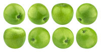 Green apple isolated on white background with clipping path, granny smith, collection