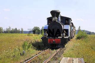 Vintage Locomotive Approaches Flag Stop