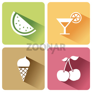 Summer food icons with shadow on a white background