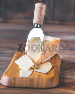 Parmesan cheese on stone board