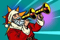 Santa Claus with a megaphone. Christmas sale