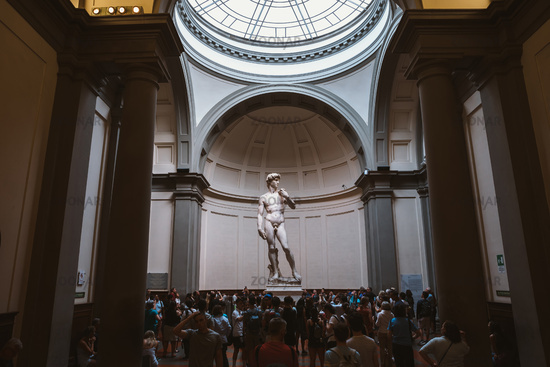 Panoramic view of hall with sculpture is David by Italian artist Michelangelo