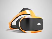 Modern virtual reality glasses for the orange prefix 3d render on a gray background with a shadow