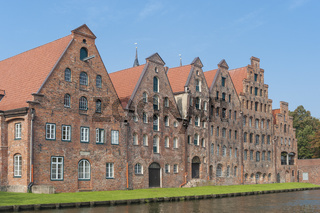 Historische Salzspeicher an der Obertrave in Lübeck
