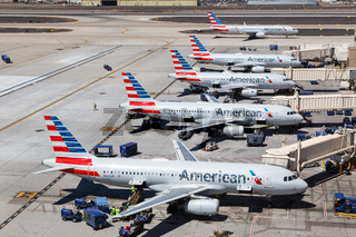 American Airlines Airbus A320 airplanes Phoenix airport