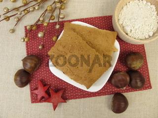 Weihnachtliche Lebkuchen mit Kastanienmehl