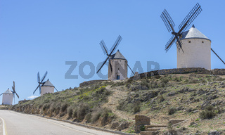 History, White wind mills for grinding wheat. Town of Consuegra in the province of Toledo, Spain