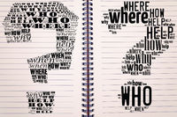 Question mark word cloud collage