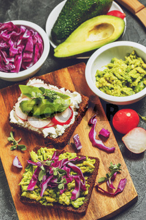Toasts with Avocado and Vegetables