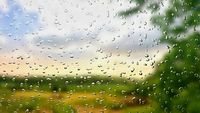 A view of the landscape through a wet window with rain drops.