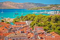 Trogir old city rooftops and turquoise archipelago view
