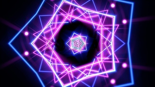 Colorful neon geometric shape in space