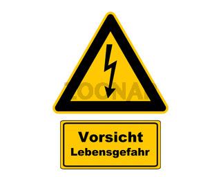 Warnschild Vorsicht Lebensgefahr - Attention sign high voltage