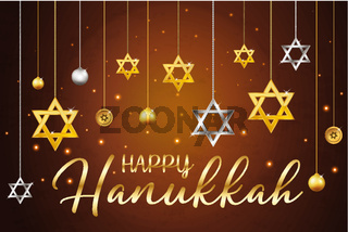 Happy Hanukkah greeting card, banner, poster with David stars