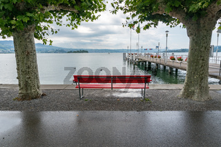 red park bench on a lake shore with a view of the harbor pier and  framed by London plane trees