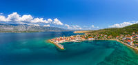Panoramic view of old coastal town in Croatia, aerial view of Vinjerac