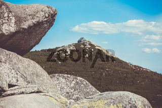 Scenic sight of giant mountains and rock formation at summer, Karkonosze