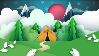 Cartoon paper illustration. Tent, cloud, mountain, star, tree, forest.