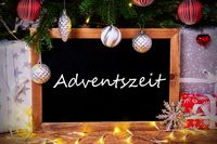 Chalkboard, Tree, Gift, Fairy Lights, Adventszeit Means Advent Season