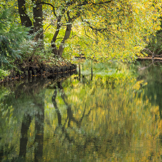 Autumn scenery on the Landwehrkanal at berlin