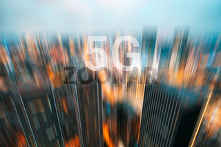 5G on a motion blurred city skyline