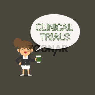 Conceptual hand writing showing Clinical Trials. Business photo showcasing Research investigation to new treatments to showing