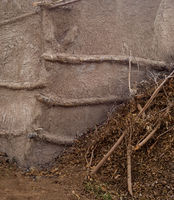 Primitive straw clay wall at an Egyptian rural village