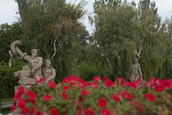 Volgograd, Russia : The sculptural group Warriors kill a hydra and destroys a swastika - Nazi symbols historical memorial complex Square of heroes. Mamayev Kurgan