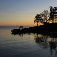 Sunrise in Vita Sannar, Sweden. Calm summer morning.