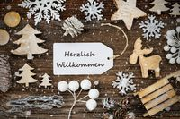 Label, Frame Of Christmas Decoration, Willkommen Means Welcome, Snowflakes