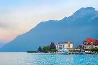 Sunrise mountain lake resort Austria