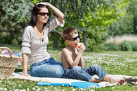 Little boy with his mom at picnic
