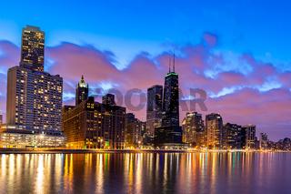 Chicago Skylines at night.