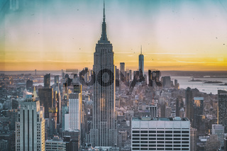 Amazing aerial view of Manhattan skyline from a vantage viewpoint