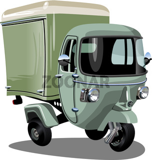 Vector cartoon delivery cargo scooter isolated on white