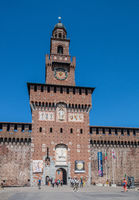 Milan, Italy - 30 June 2019: View of Castle of Sforza -  Castello Sforzesco