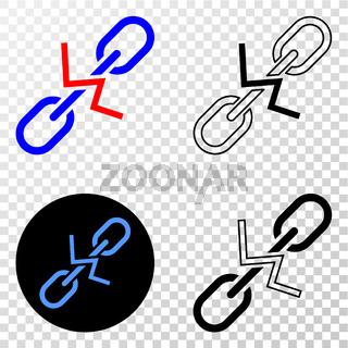Break Chain Vector EPS Icon with Contour Version