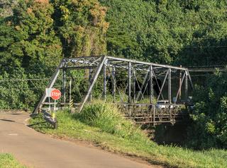 Old steel girder bridge on road to Hanalei in Kauai