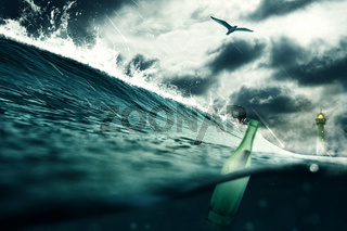 Message in a bottle with under water view illustration. Travel