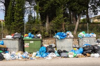 Müllcontainer und Müllsäcke am Straßenrand