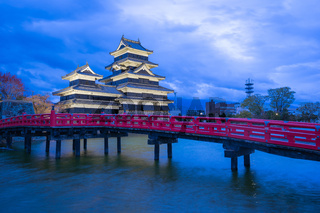 Matsumoto Castle at night in Matsumoto, Nagano Prefecture, Japan
