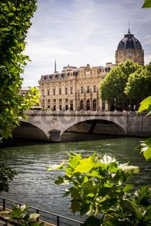 Parisian bridge and the Seine river seen from Cite island